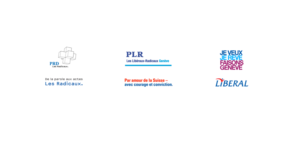The 3 political parties' branding before the fusion