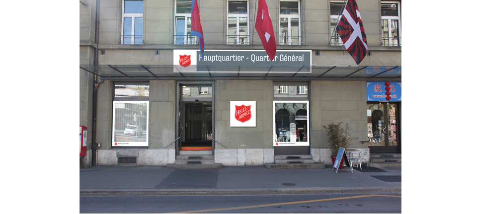 The salvation army logo on the HQ