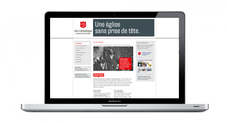 Website of the salvation army with the logo
