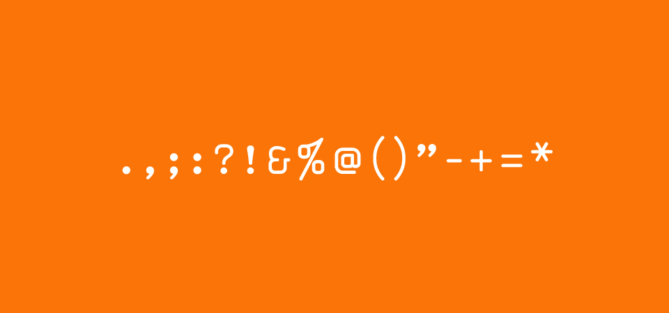Font for punctuation in orange