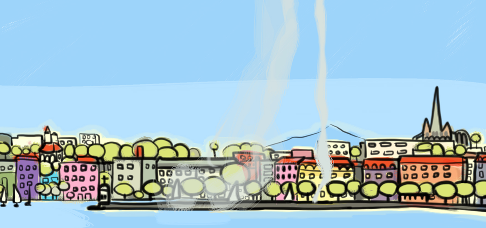 Drawing of Geneva in the video