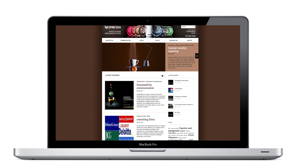Home page of the platform