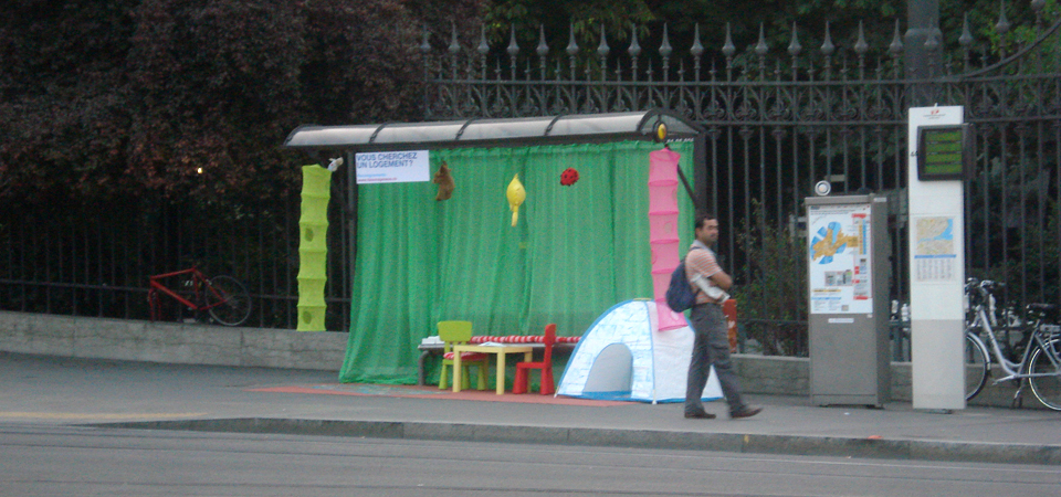 A bus shelter decorated as a child's bedroom