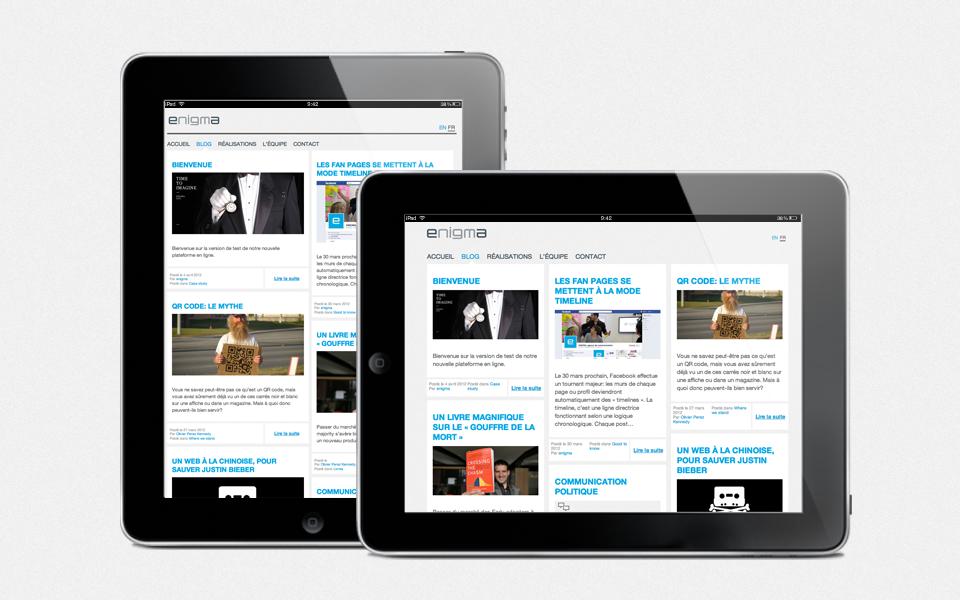 Website display on tablet