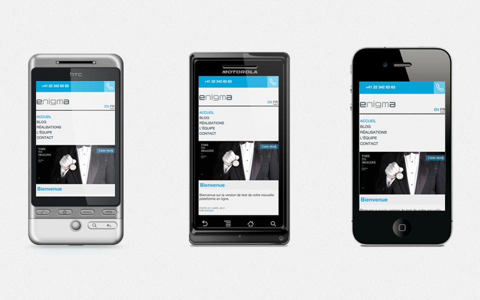 Website's display on smartphone