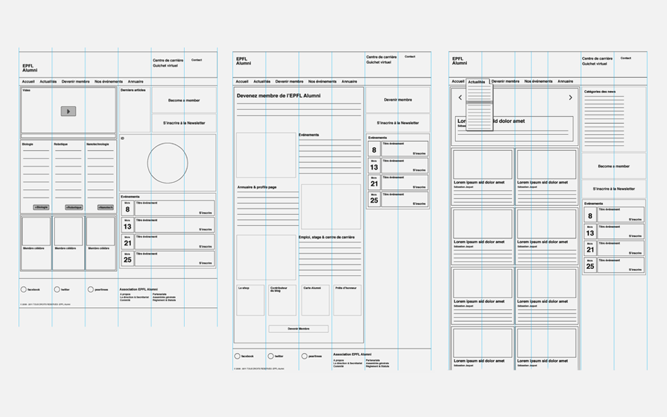 wireframes du site internet