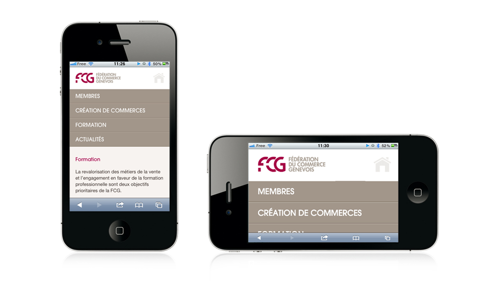 Overview of FCG website on smartphone