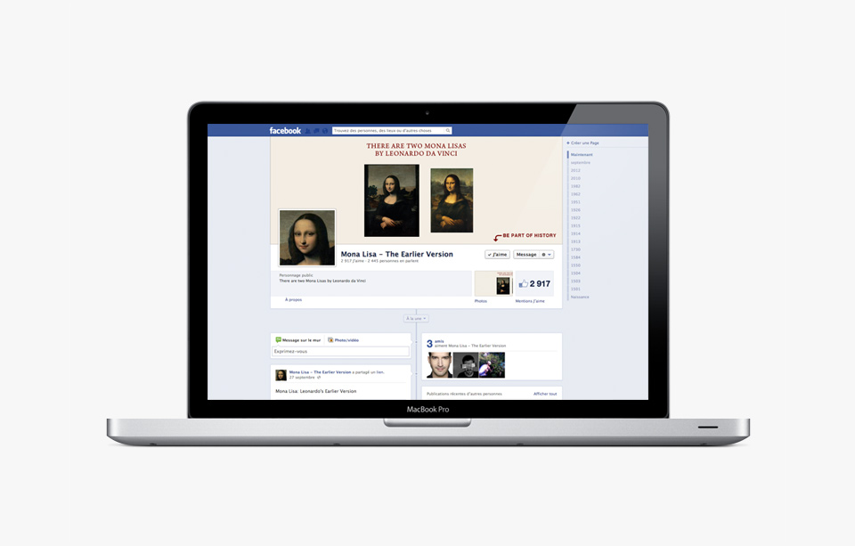 Display of the Fondation's Facebook page on laptop