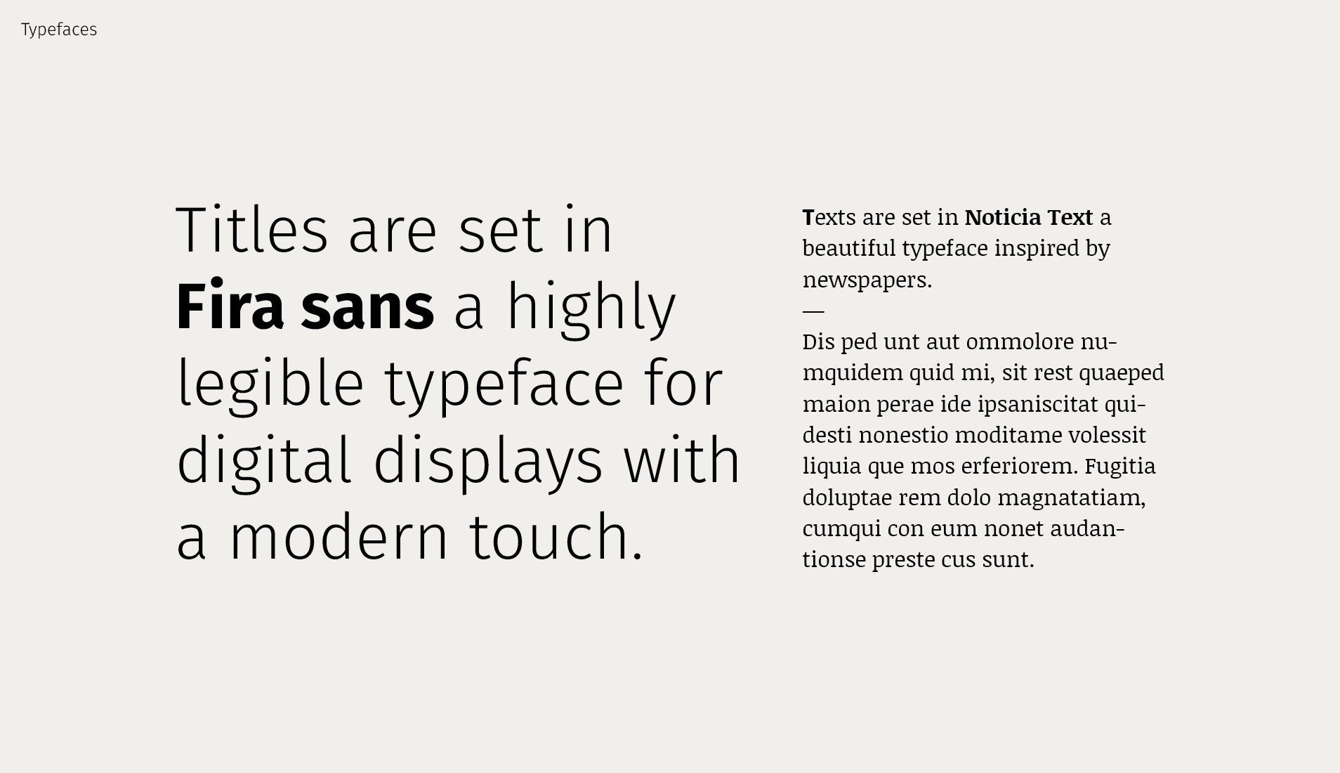 Website's typefaces overview