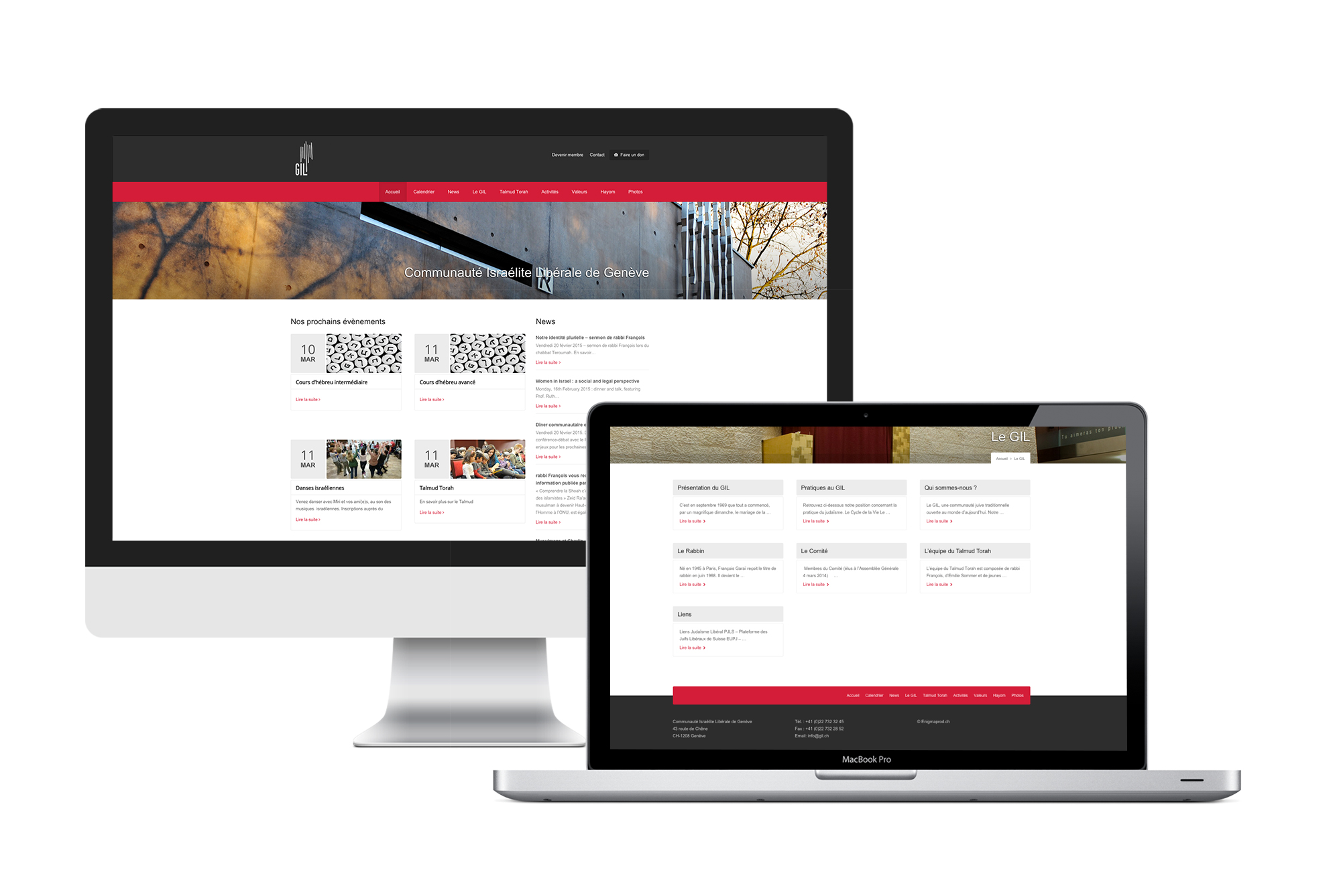 Display of the GIL website on desktop and laptop