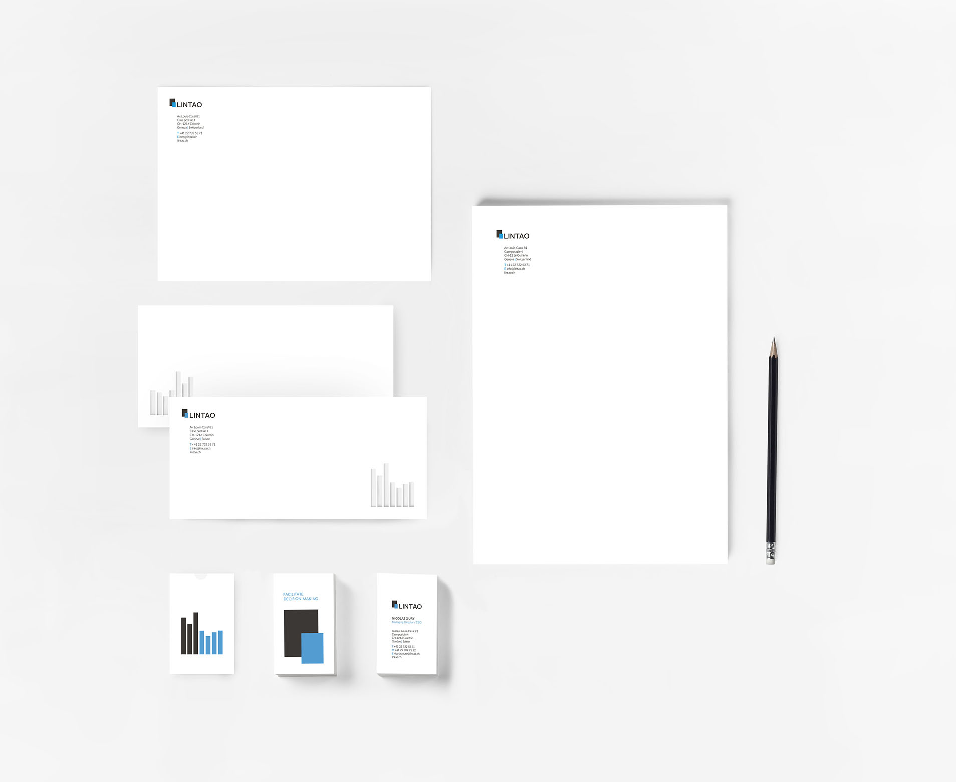 Display of the stationery elements corresponding to the new branding