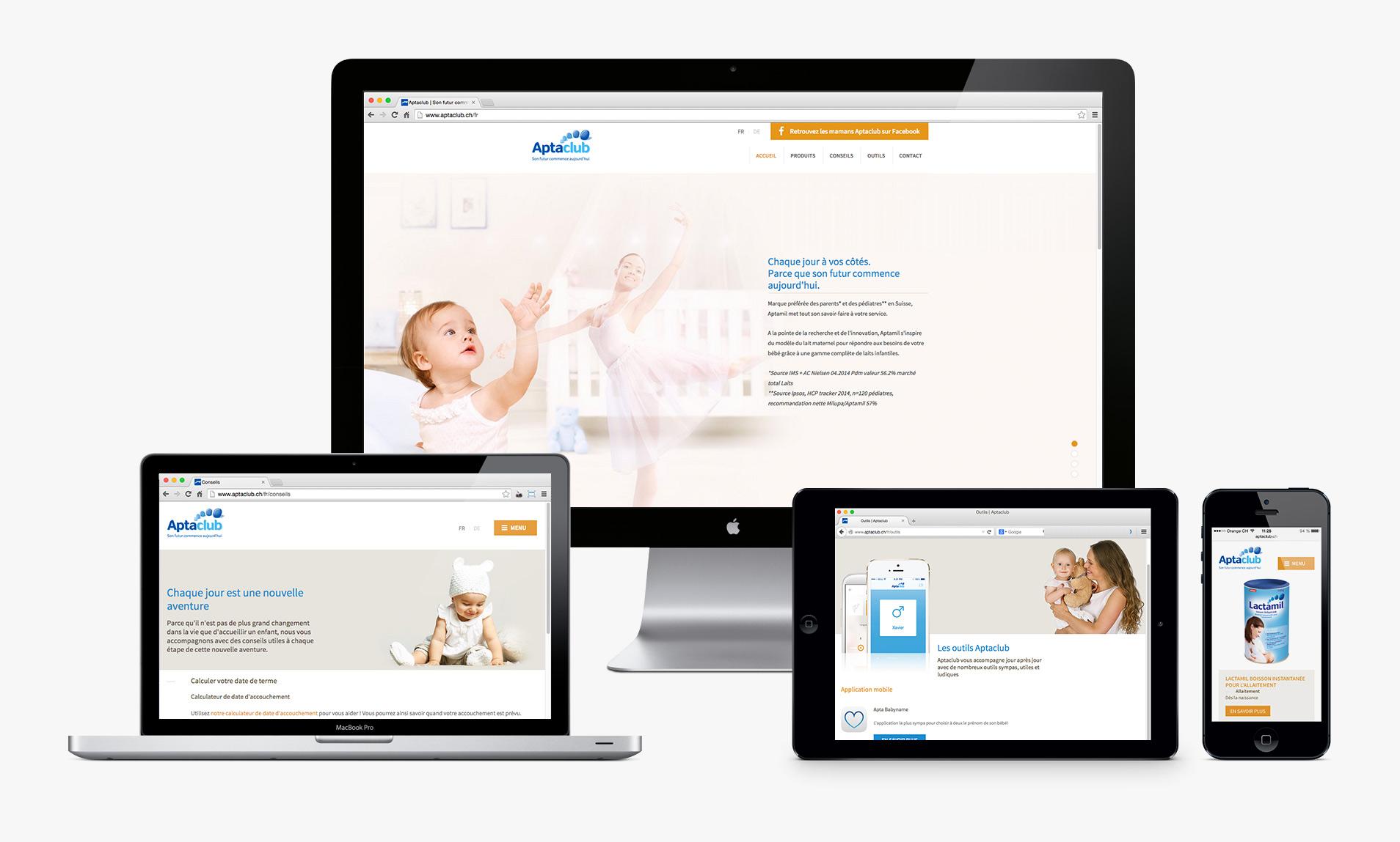Aptaclub's website responsivity