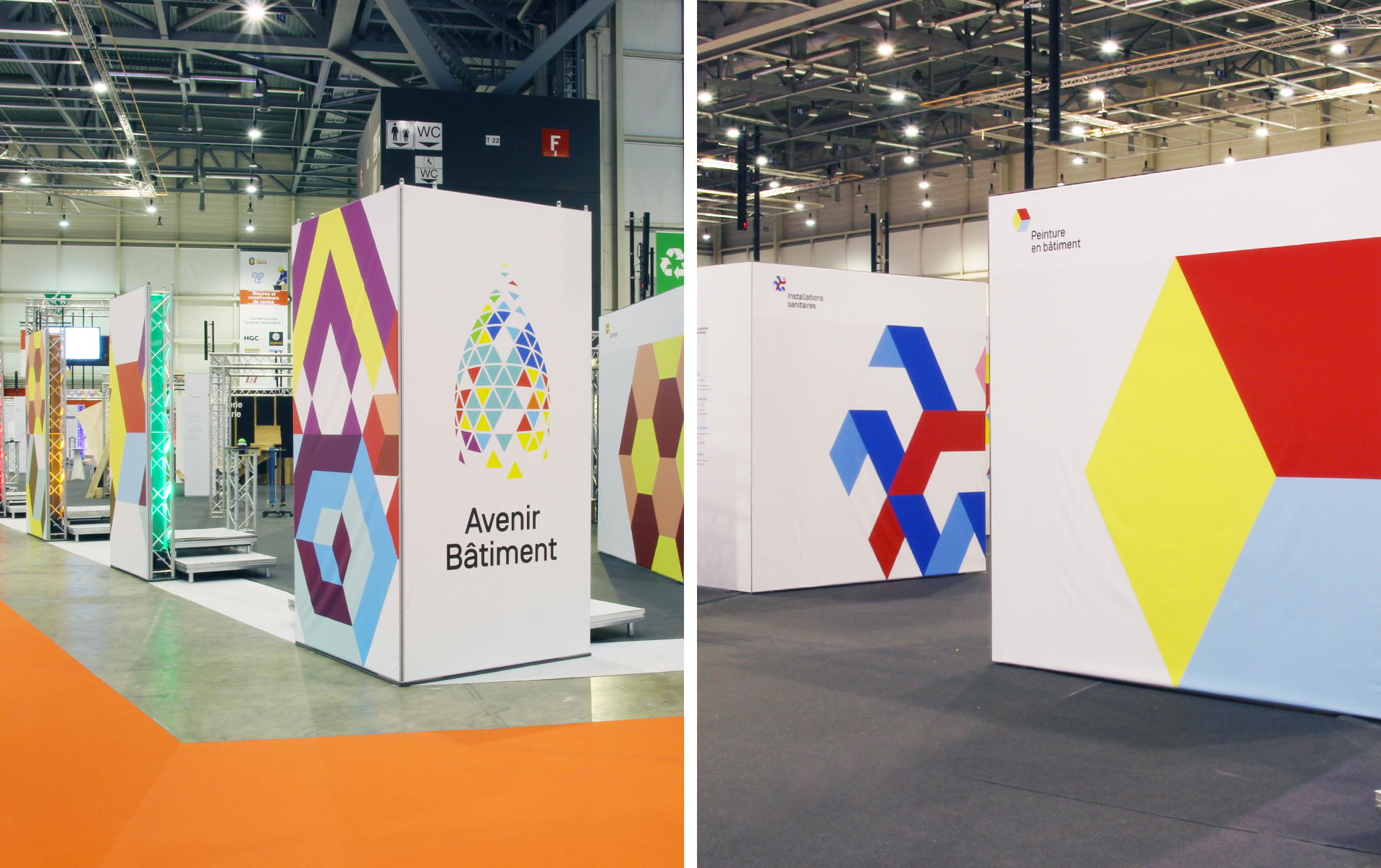 two pictures of the Avenir Bâtiment new branding put together