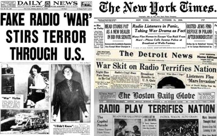 A history of fake news: newspaper report on the War of the worlds radio show by Orson Welles