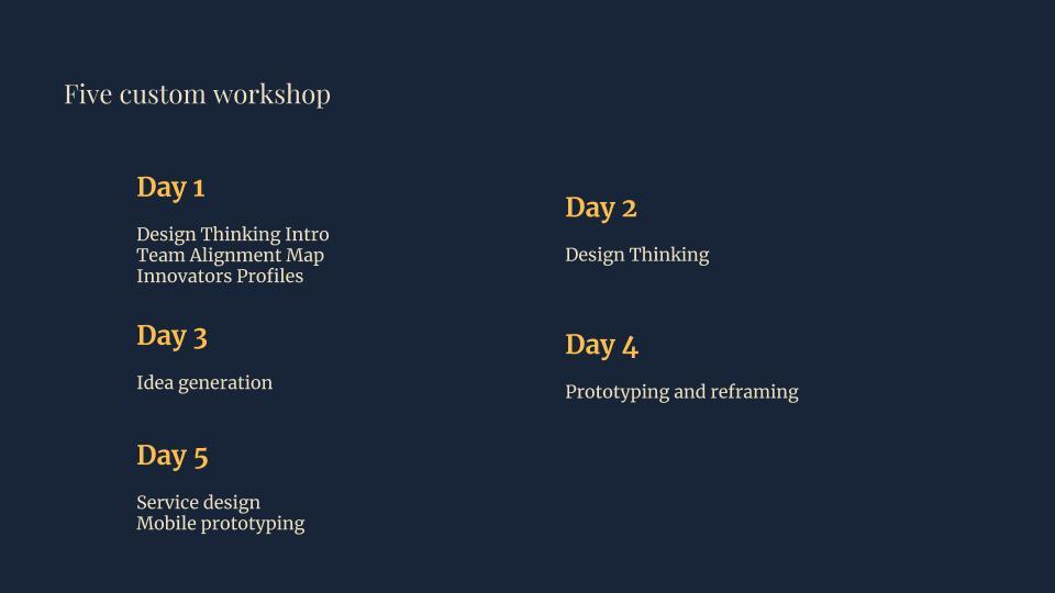Five custom workshops