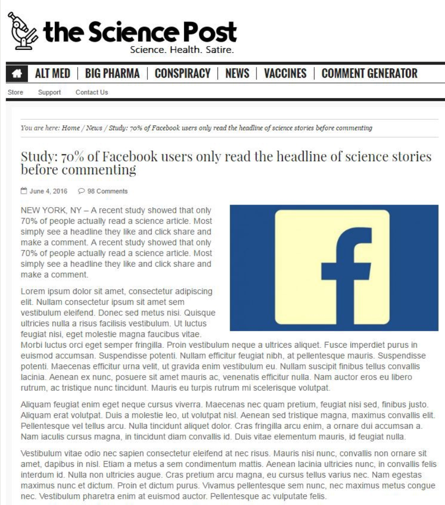 facebook fake article