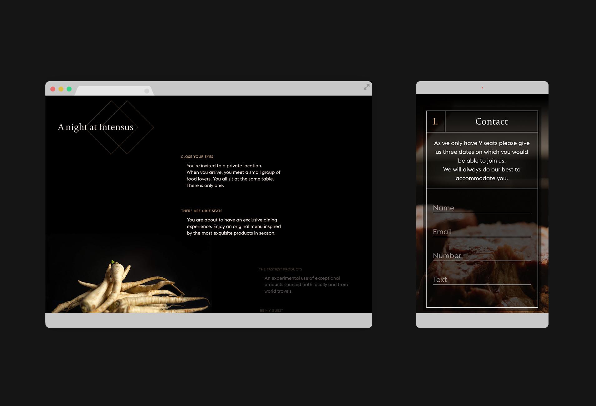website design for a restaurant